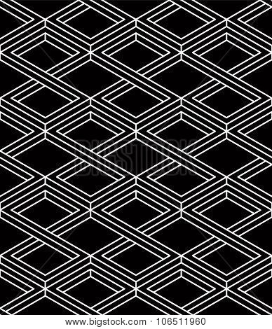 Monochrome Illusory Abstract Geometric Seamless Pattern With 3D Geometric Figures. Vector Black And