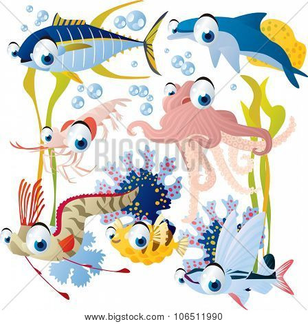 vector cute fish set including octopus, tuna, dolphin, sailfish and shrimp