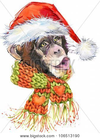 New Year monkey Santa Clause graphics,  monkey chimpanzee illustration