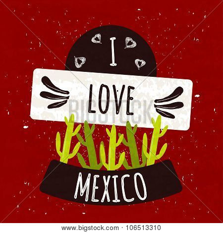 Juicy colorful typographic poster with the symbol of the cactus country of Mexico on a bright red ba
