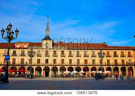 Leon Plaza Mayor arcade in Way of Saint James at Castilla Spain