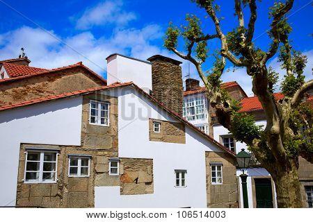 Santiago de Compostela facades end of Saint James Way in Galicia Spain