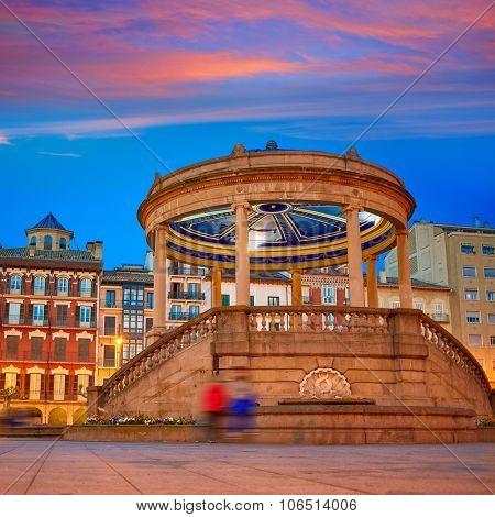 Pamplona Navarra in Spain plaza del Castillo square downtown