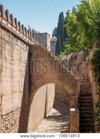 View Of Walls In Alhambra In Granada  In Spain