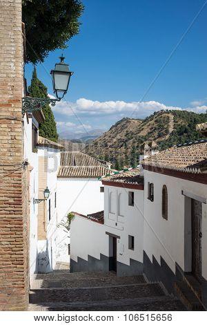 Steep Narrow Streets In Granada Spain