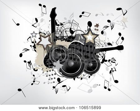 abstract grunge music background with guitar. Abstract vector illustration with background.