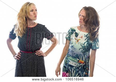 Two angry blond women