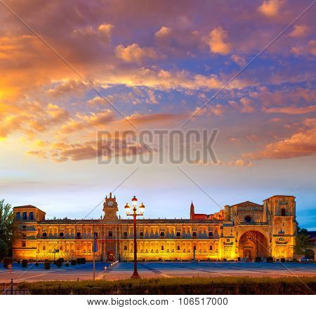 San Marcos in Leon sunset at the way of Saint James Castilla Spain