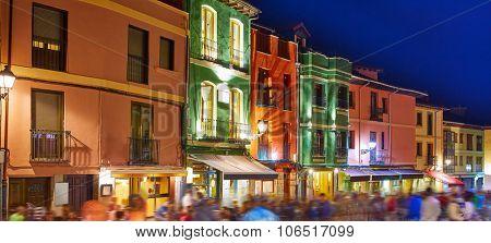 barrio humedo nightlife, in leon downtown at castilla spain