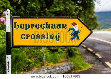 Leprechaun Crossing Sign In Killarney National Park, Ireland