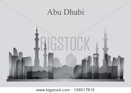 Abu Dhabi City Skyline Silhouette In Grayscale