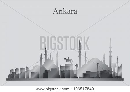 Ankara City Skyline Silhouette In Grayscale