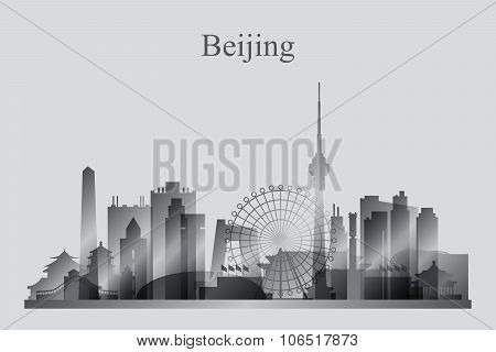 Beijing City Skyline Silhouette In Grayscale