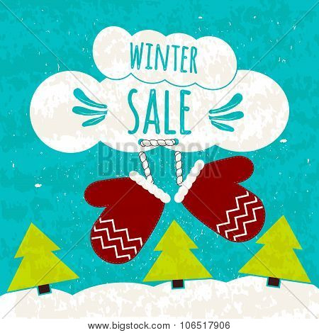 Juicy colorful typographic poster with the text about winter discounts and lower prices. Flyer for p