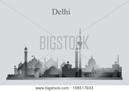 Delhi City Skyline Silhouette In Grayscale