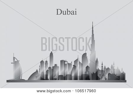 Dubai City Skyline Silhouette In Grayscale