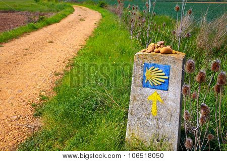 The Way of Saint James shell sign and yellow arrow in Castilla Leon of Spain