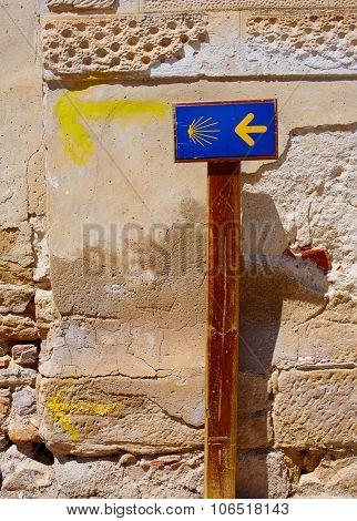 The way of Saint James sign at Granon in La Rioja Logrono