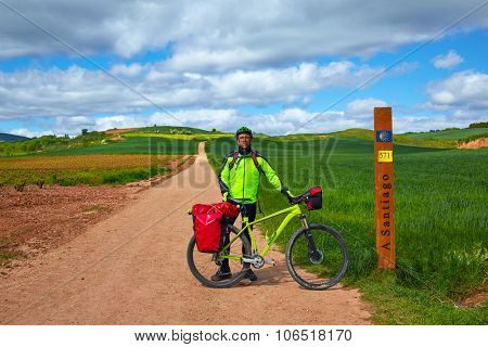 The way of Saint James biking 571 km to Santiago sign