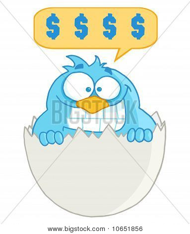 Blue Cartoon Bird With Cell Phone