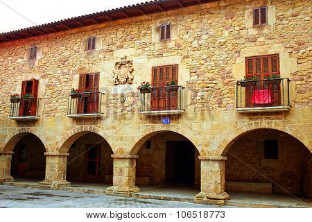 The way of Saint James arcade in Cirauqui at Pamplona Navarra Spain
