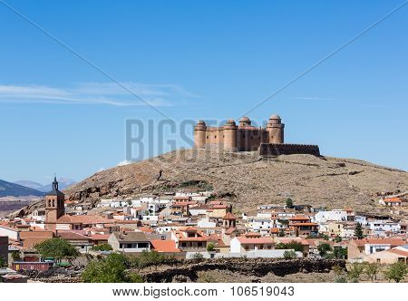 Castle On Hilltop Above La Calahorra Spain