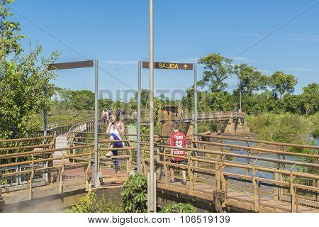 Tourists At Iguazu Falls Devil Throat Argentinian Border