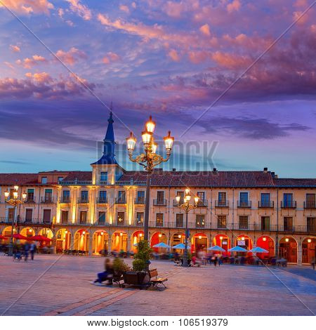 Leon Plaza Mayor sunset in Way of Saint James at Castilla Spain