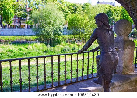 Burgos paseo espolon park woman statue in Castilla Spain
