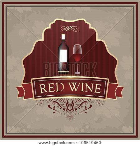 Red wine label with bottle and glasses on vintage paper.