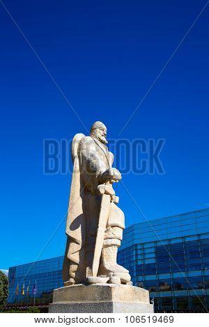 Burgos San Pablo bridge Statues over Arlanzon river in Castilla Spain
