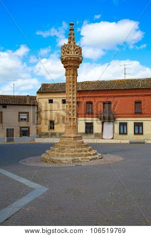 Boadilla del Camino Gothic rollo by Saint James Way XV century in Castilla Leon Spain