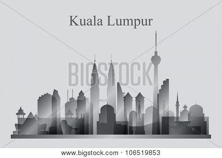 Kuala Lumpur City Skyline Silhouette In Grayscale