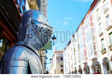 Burgos warrior medieval armor armour next to Cathedral in Castilla Spain