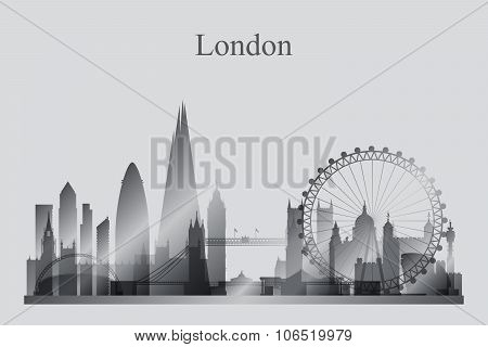 London City Skyline Silhouette In Grayscale
