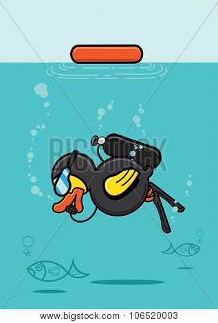 Duck Scuba Diving Underwater