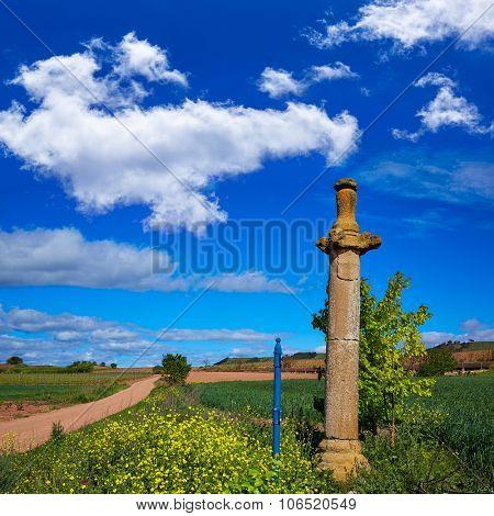 Azofra Saint James Way cross column monument at La Rioja