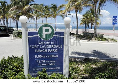 Welcome To Fort Lauderdale Beach Park Sign