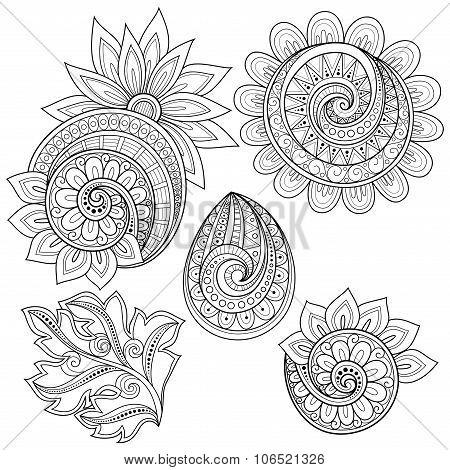 Vector Set Of Monochrome Contour Floral Doodles