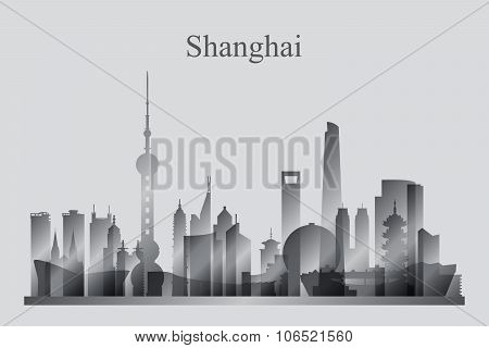 Shanghai City Skyline Silhouette In Grayscale