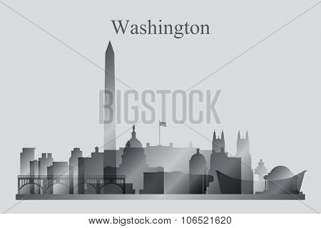 Washington City Skyline Silhouette In Grayscale