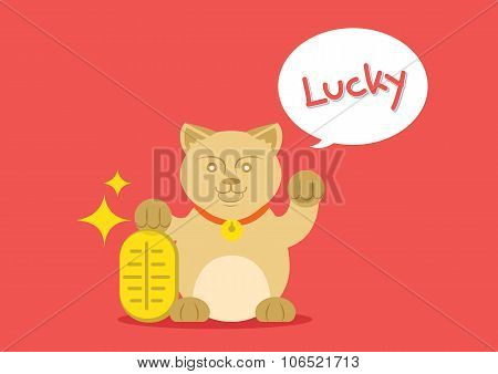Lucky Cat With Golden Coin