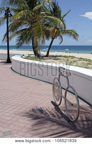 Bike Shaped Bicycle Rack At The Beach
