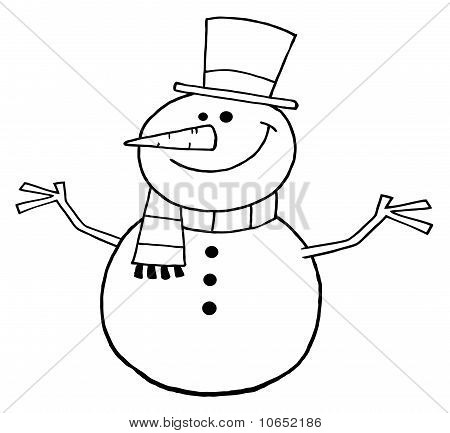 Outlined Friendly Snowman