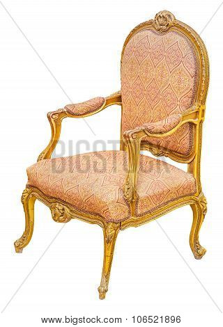 Old Antique Classic Style Vintage Gilded Wooden Chair