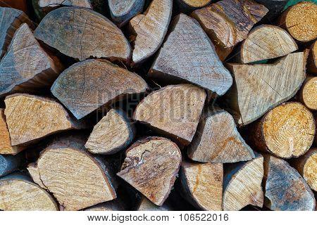 Wall Of Chopped Fire Wood