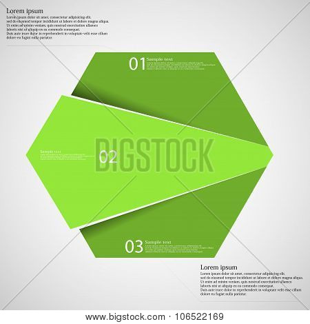 Hexagon Infographic Template Divided To Three Green Parts