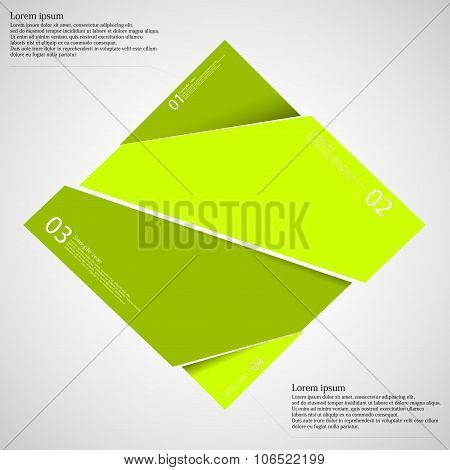 Rectangle Infographic Template Divided To Four Green Parts