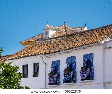 Decorated Windows Face Plaza De Los Naranjos In Marbella
