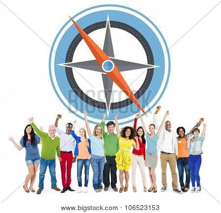 Navigation Compass Direction Exploration Guide Journey Concept